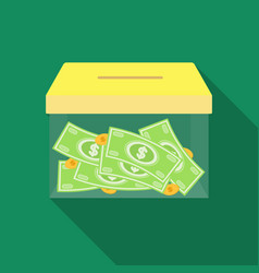 Donation moneybox icon in flate style isolated on vector