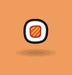 Icon japanese fresh roll with salmon vector