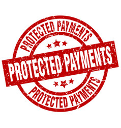 Protected payments round red grunge stamp vector