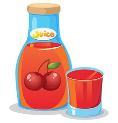 A bottle of cherry juice vector image