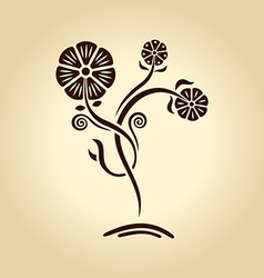 vintage flower Silhouette plants on old paper vector image