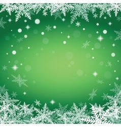 Christmas snowflakes on green background vector