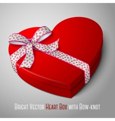 Realistic blank bright red heart shape box with vector