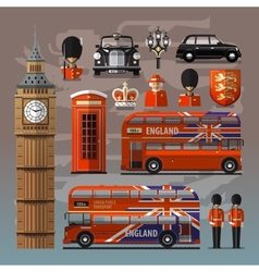 England london uk set of colored icons vector