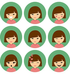 Cartoon cute girl with different emotion silent vector