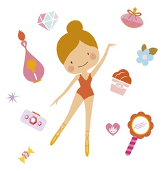 Cute clip art set with ballerina vector image