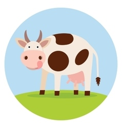 Funny cow on the field vector
