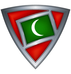 Steel shield with flag maldives vector
