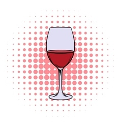 Red wine in glass comics icon vector