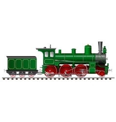 Green steam locomotive with tender vector