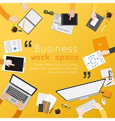 Flat design of modern creative office workspace vector