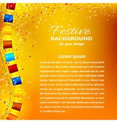 Festive orange background with garland vector