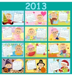 Babys monthly calendar for 2013 vector