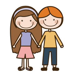 Color silhouette cartoon couple kids in casual vector