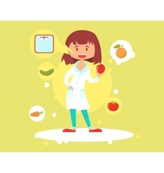 Cute woman nutritionist vector