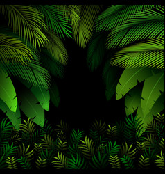 Exotic pattern with tropical leaves on a black vector