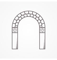 Flat line brick archway icon vector
