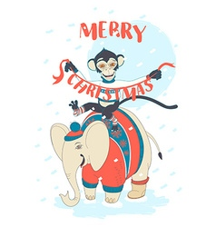 Funny Merry Christmas card with monkey riding an vector image vector image