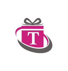 Gift box ribbon letter t vector