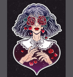 Girl with eyes as roses crying rose petal tears vector