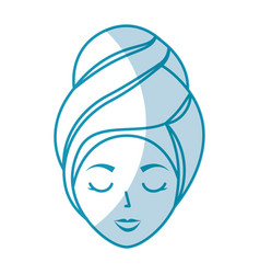 Head woman with towell vector