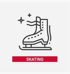 ice skate - line design single isolated icon vector image vector image
