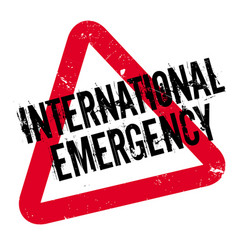 International emergency rubber stamp vector