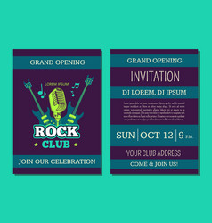 invitation card template opening rock music vector image