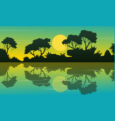 landscape jungle at morning silhouettes vector image vector image