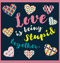 lettering valentines day in hearts 1 vector image vector image