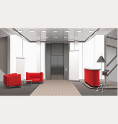 Lift lobby realistic interior vector