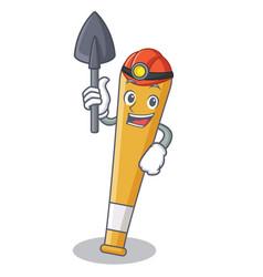 Miner baseball bat character cartoon vector