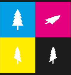 New year tree sign white icon with vector