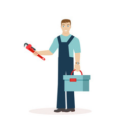 Plumber or mechanic with a wrench and a tool box vector