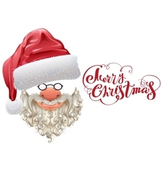 Red santa hat beard and merry christmas lettering vector