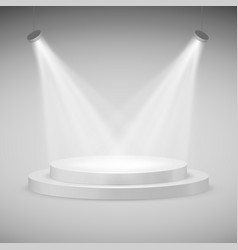 round stage illuminated by spotlights realistic vector image