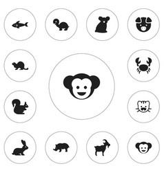 Set of 12 editable zoo icons includes symbols vector