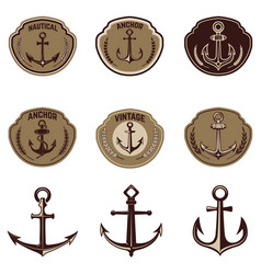 Set of the emblems with anchor design elements vector