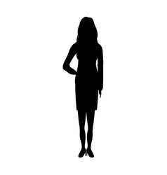 Silhouette young girl standing female vector
