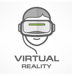 virtual reality headset man vector image vector image
