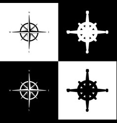 Wind rose sign black and white icons and vector