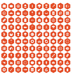 100 meal icons hexagon orange vector image vector image
