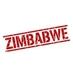 Zimbabwe red square stamp vector