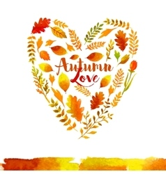 Heart of watercolor autumn leaves vector