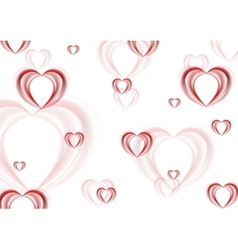 Abstract blurred red hearts background vector