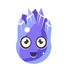 Blue crystal ice element egg-shaped cute vector