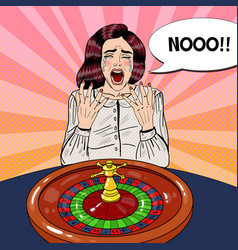 Crying woman behind roulette table vector
