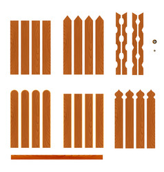 Set of wooden fence planks of different forms vector