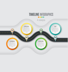 Navigation map infographic 4 steps timeline vector