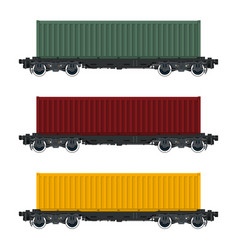 Set of cargo railway containers vector